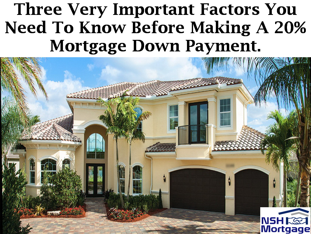 Three Important Factors On Making A 20% Down Payment |NSH Mortgage